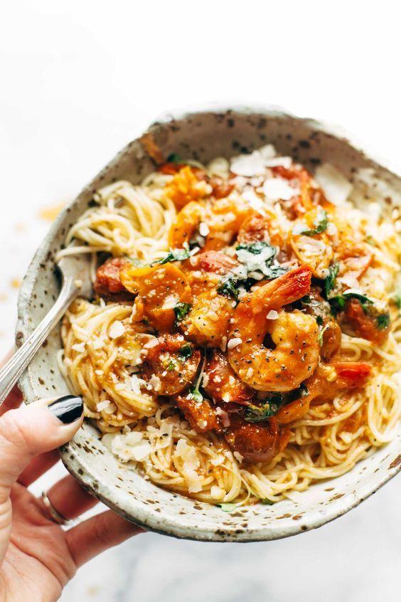 garlic butter capellini pomodoro with shrimp.