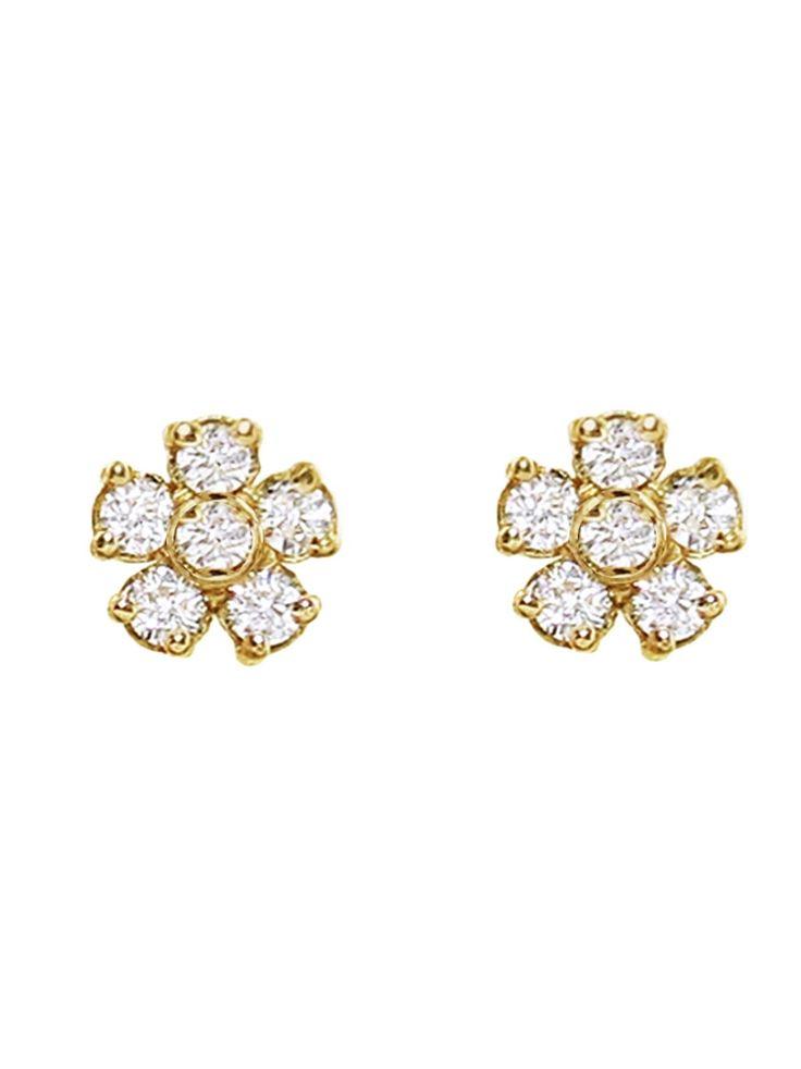 Jennifer Meyer 18k Gold Diamond Flower Stud Earrings F7uSA8x