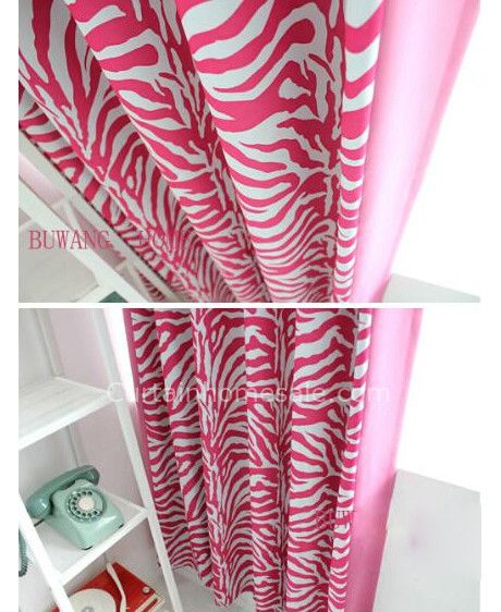 Zebra Printing Style Pink Living Room making eyelet curtains