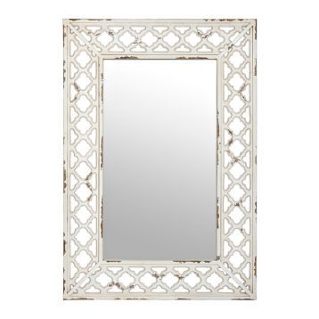 Antique Cream Open Trellis Mirror
