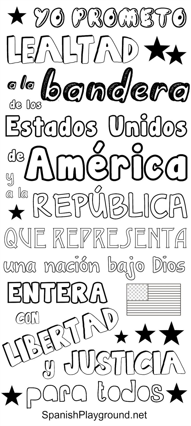 The Pledge of Allegiance in Spanish: Pledge of Allegiance printables, great for speaking Spanish with kids on Independence Day! One version in color and another in black and white for kids to print and color. #4thofJulyactivities for kids #pledgeofallegianceSpanish #pledgeofallegiance for kids #Spanishcoloring sheets http://spanishplayground.net/pledge-of-allegiance-in-spanish/