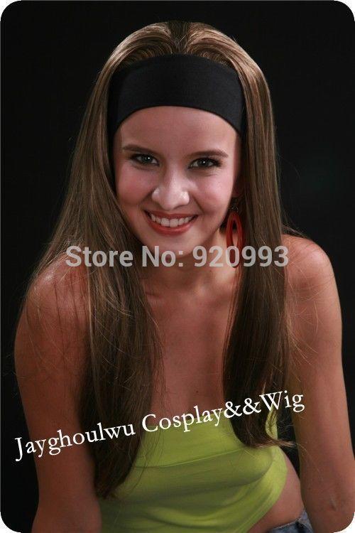 Оптовая продажа магазины ** @ ** новый парик мода женская длинные прямые темно-каштановый Mix полный день ну вечеринку парик