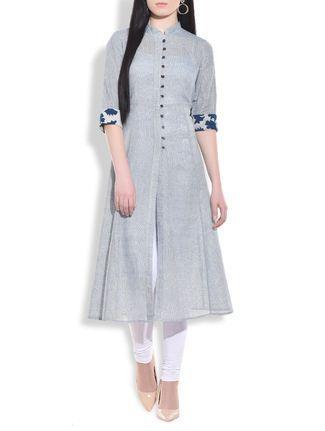 Buy Aavidi Stone blue flared lung jute kurta Online, , LimeRoad