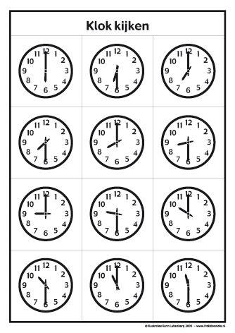 <h1>Klokkijken met Frokkie en Lola deel 1 zwart/wit</h1>Oefen het klokkijken met de werkbladen van Frokkie en Lola. Deze klokken kun je zelf inkleuren.