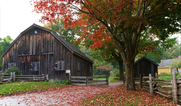 Old barn and autumn leaves. Rural landscape, travel and tourism. Commercial photography by Jeanne McRight, Pix Photography.
