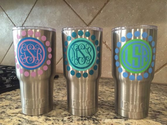Yeti decal yeti tumbler decal custom yeti decal yeti monogram decal one