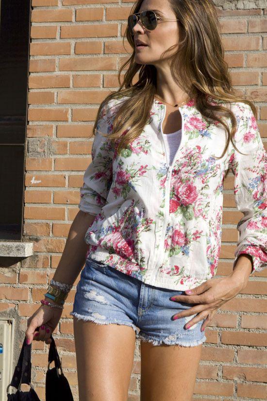 floral jacket & cutoffs