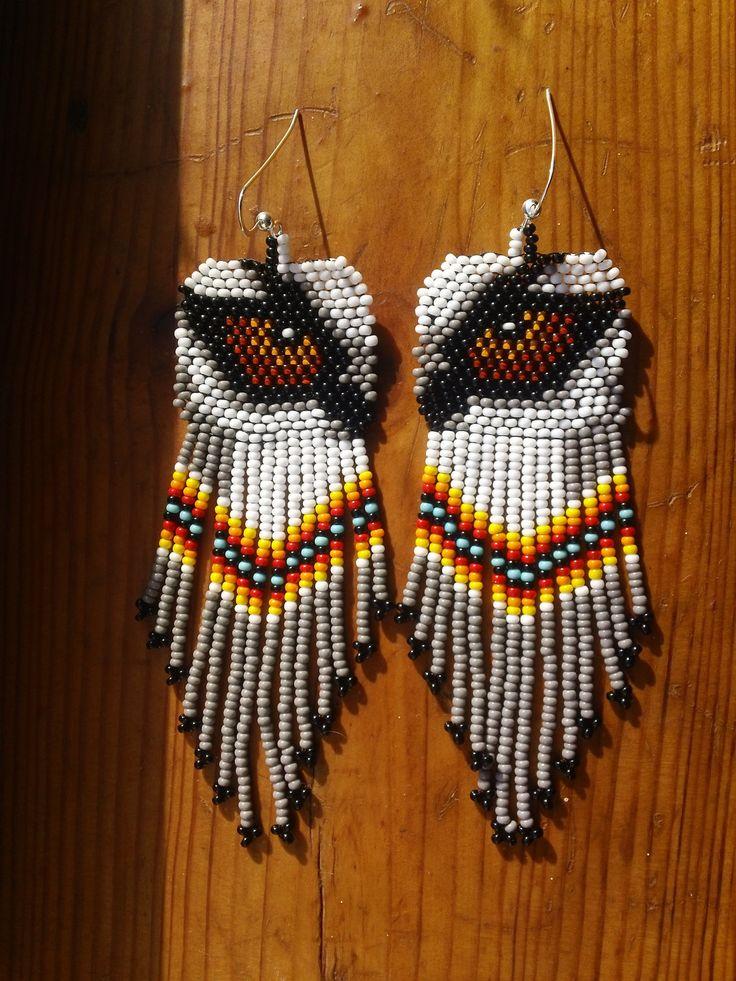 Beaded Native American Earring Patterns | Native American Beaded Wolf Eye Earrings With Sterling Silver Earwires