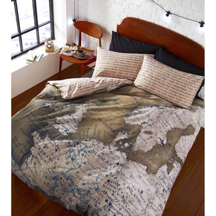 World Map Vintage Duvet Cover – Reversible Bedding Green & Natural Beige Bed Set