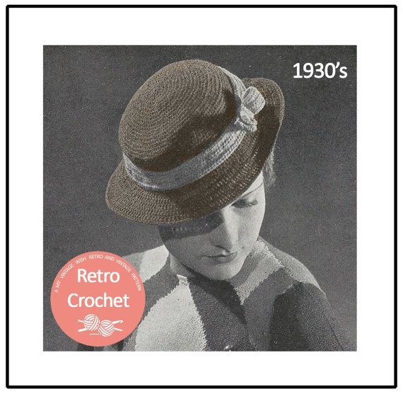 1930's Crocheted Hat Pattern  Instant Download  PDF