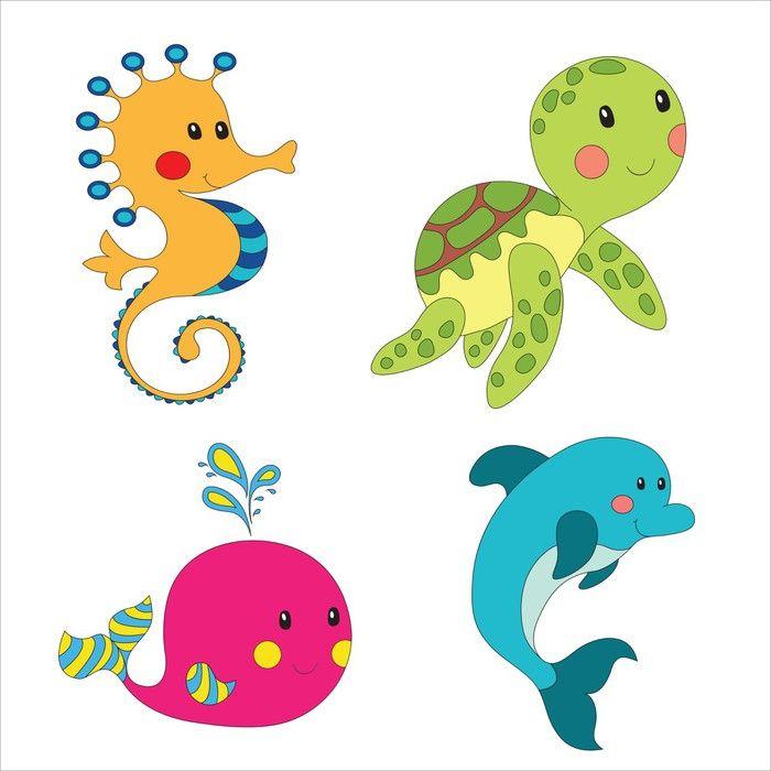 Set Of Cartoon Sea Creatures Wall Mural Pixers We Live To Change In 2021 Underwater Cartoon Sea Animals Images Sea Creatures
