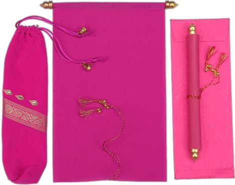 S212 Invitation card Pouch and scroll with matching tassel and golden ends in Fuchsia Velvet cloth http://www.scrollweddinginvitations.com/S212.html