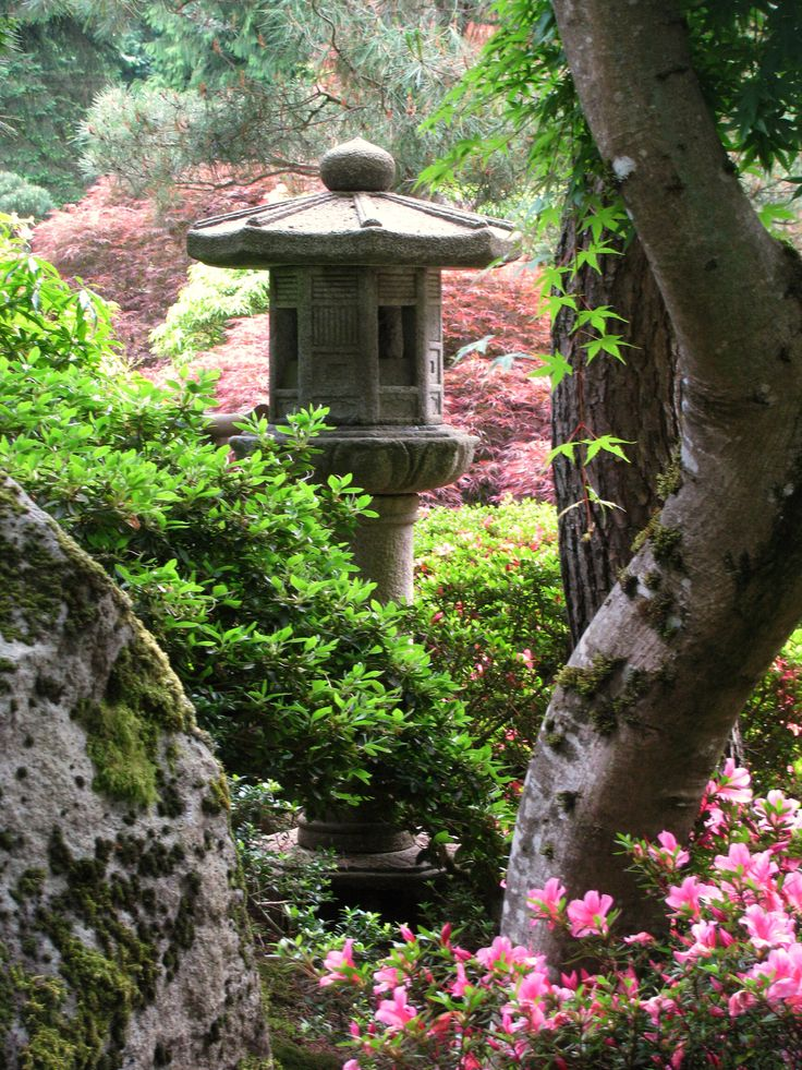 Japanese Garden, Portland, OR I just love Japanese lanterns. In matter of fact, I have a beautiful three piece lantern from Japan that came home with my dad as a child since he lived there for a few years and after my grandparents passed, it found a new home in my yard.