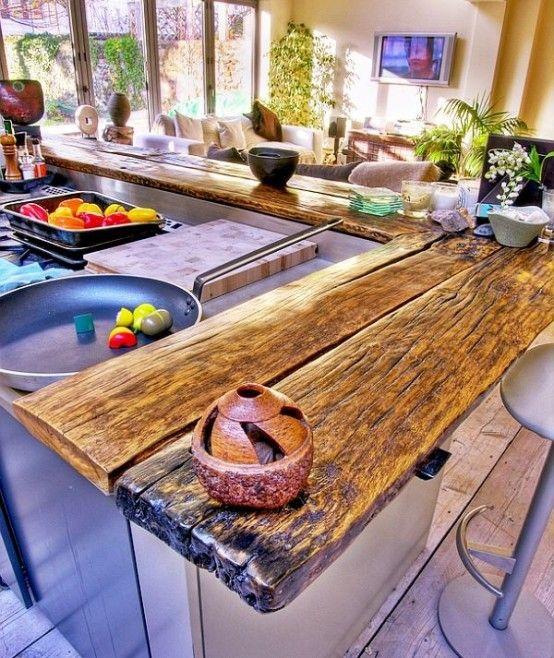 58 Cozy Wooden Kitchen Countertop Designs | DigsDigs