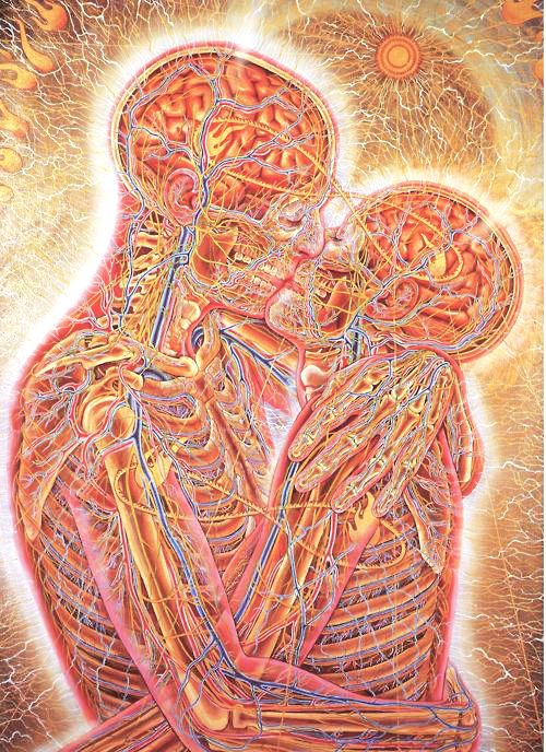 Kissing by Alex Grey, 1983, oil on linen