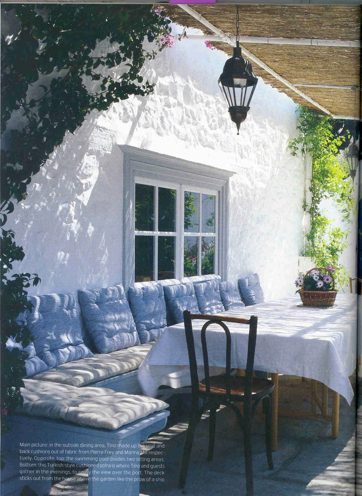 Extex Outline Sailor cushions in a beautiful Greek Villa as featured in World of Interiors.