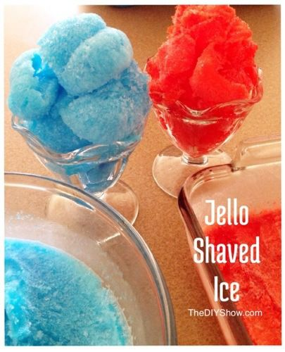 Make your own Shaved Ice at home!! Jello Shaved Ice weekend or dainty party treat. Can use any flavor jello to make any color. #thediyshow http://www.thediyshow.com