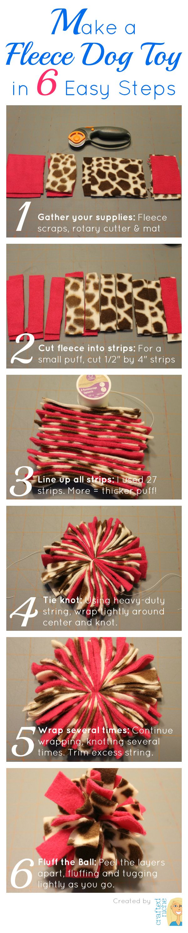Make your own Fleece Puff Ball Dog Toy in 6 easy steps! From CraftedNiche.com