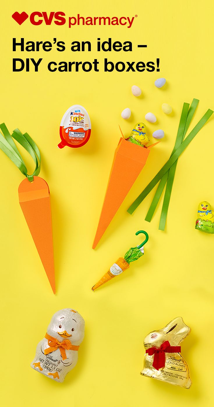 Print these easy-to-fold origami carrot boxes and fill them with small candy treats for the kids' baskets or as favors for your Easter guests. They're perfect for place settings or tablescapes, too – create an eggstra festive display by strategically arranging the paper carrots near super-adorable (and equally delicious) chocolate rabbits, lambs and chicks from Lindt. Everyone will love these – and you can make them quick as a bunny.