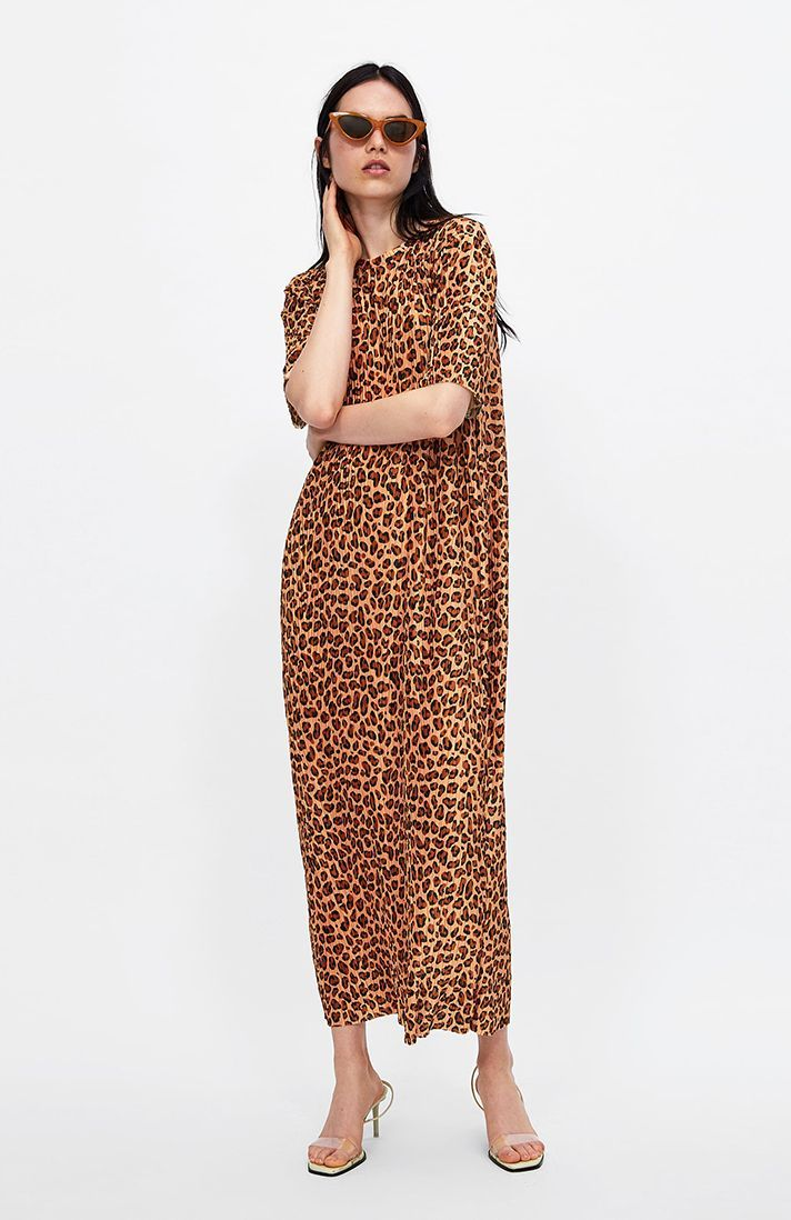31 All Season Investment Pieces To Score At Zara S Leopard Print Dress Zara Maxi Dress Print Dress