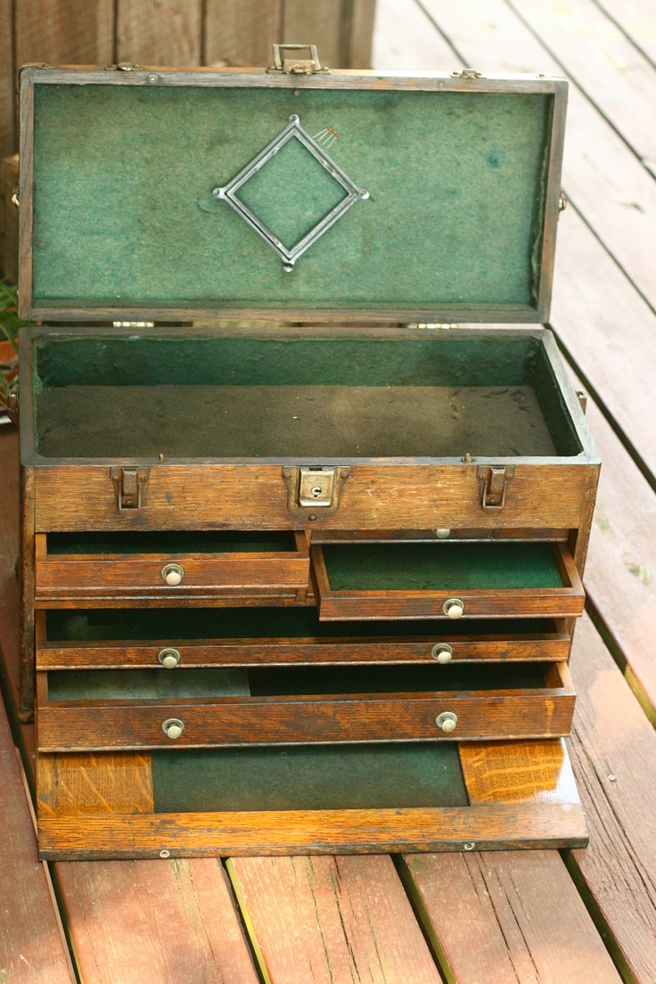 I would love to get this for my dad! - Wood Machinist Tool Box, Machinist Chest, Old Tool Box, Art Box, Beautiful Machinist Box. $409.99, via Etsy.