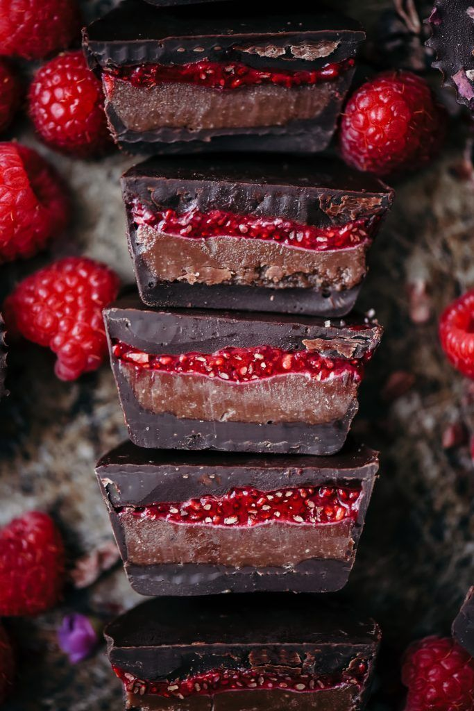 Double Chocolate Cashew Butter Cups with Raspberry Chia Jam