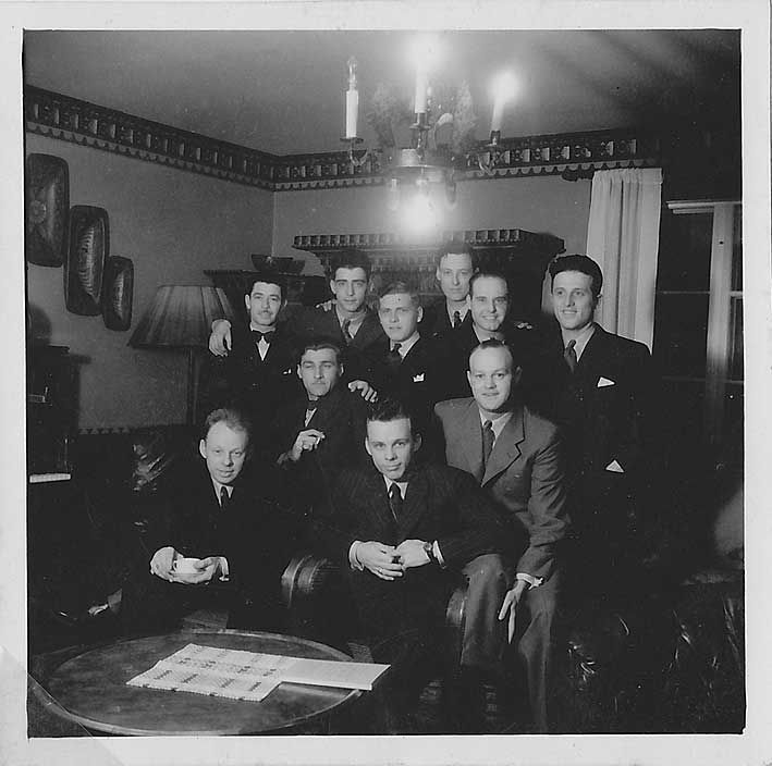 "USAAF - B-17G ""Liberty Lady"" - Serial # 42-3217The crew in Sweden. Front row: Charles W. Smith, pilot, Carl A. Heuser, engineer, Merle P. Brown, co-pilot, Stanley N. Buck, navigator Rear row: Victor R. Marcotte, radio, Joseph R. Paul, right waist gunner, Thomas E. Stillson, turret gunner, Donald S. Courson, left waist gunner, R.B. Trumble, tail gunner, Herman F. Allen, bombardier. Photo via Pat DiGeorge"