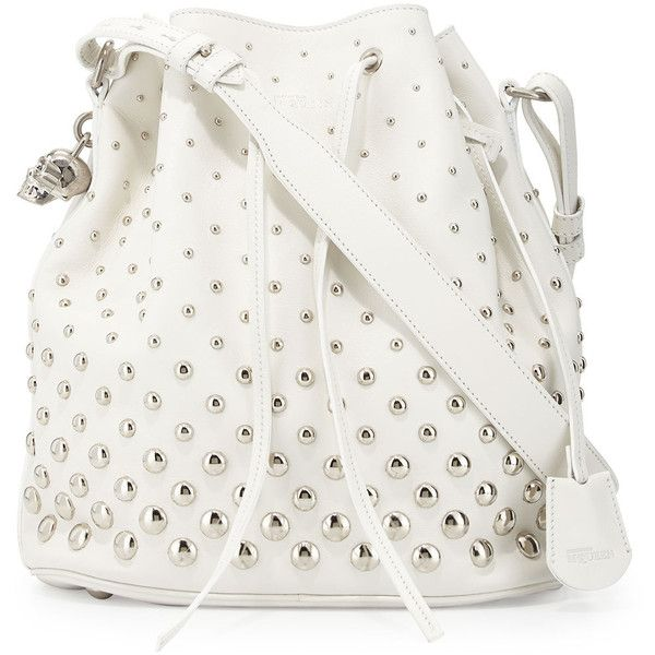 Alexander McQueenStudded Padlock Bucket Bag, WhiteDetailsOur exclusive bucket tote bag by Alexander McQueen. Polished calfskin leather; silvertone hardware inc…