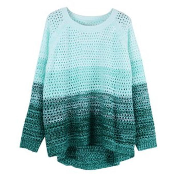 ZLYC Women's Gradient Color Stripe Loose Pullover Knit Sweater (Blue)