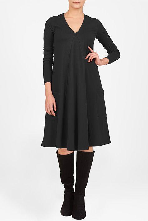 I <3 this Trapeze hem cotton knit dress from eShakti