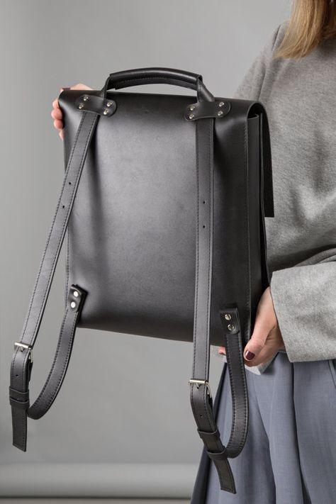 Black leather backpack-handbag, Women city bag, Minimalist backpack, Leather shoulder bag, Laptop rucksack, Women backpack, Minimal bag