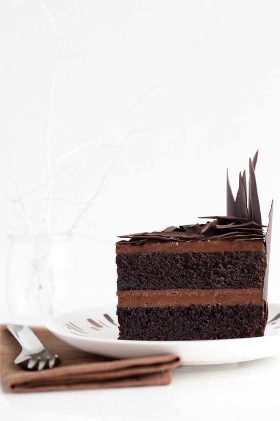 ... devil's food cake with whipped biscoff ganache and chocolate shards ...