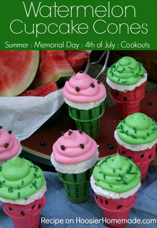 Watermelon Cupcake Cones | Watermelon flavored Cupcakes baked right in the Ice Cream Cones, makes a fun treat for Summer time! Recipe on Hoo...