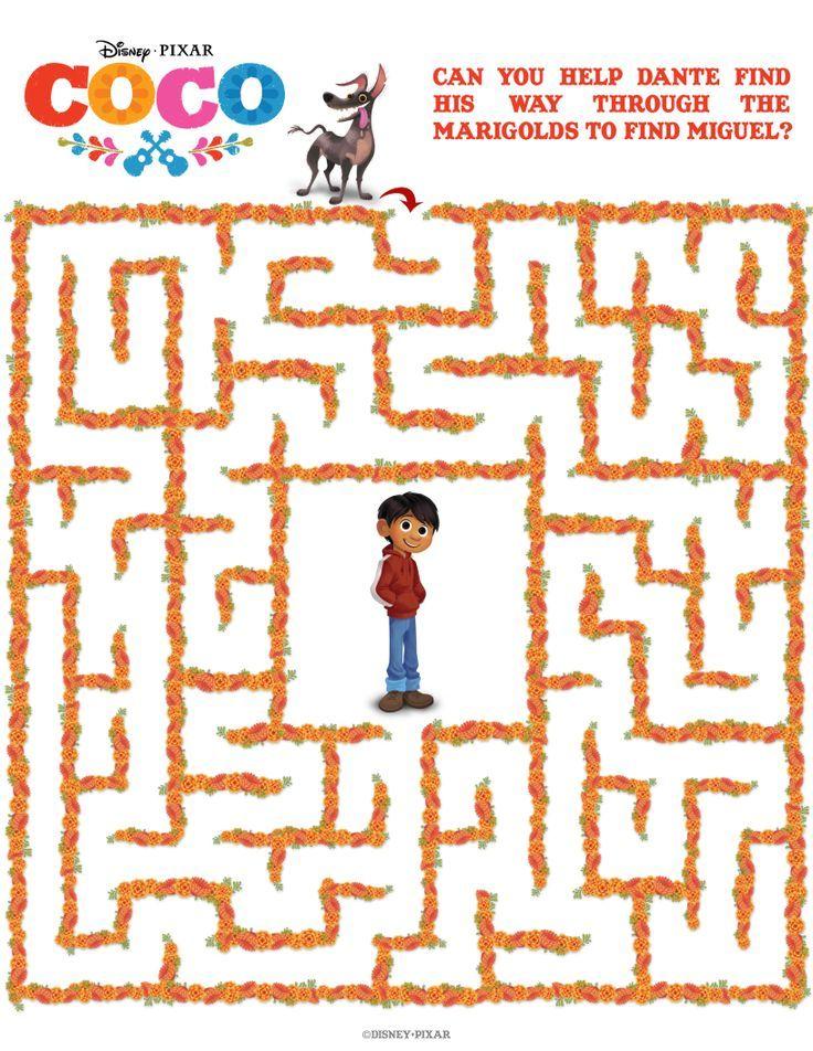 Free Disney Pixar Coco Maze | Halloween * Dia De Los Muertos in 2018 ...