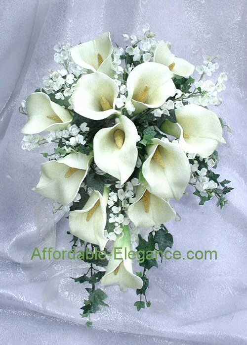 flower arrangement for calla lily | ... floral bridal bouquet with beautiful foam calla lilies lily of the