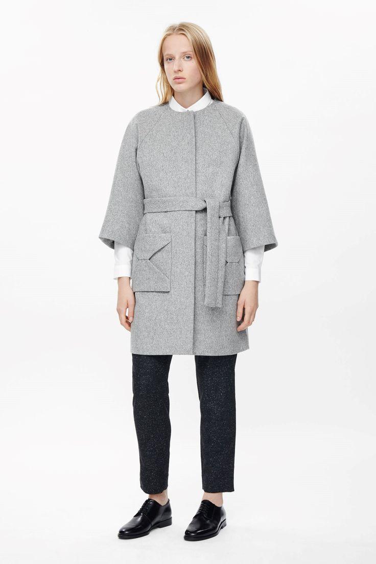 COS image 1 of Envelope pocket coat  in Light Grey