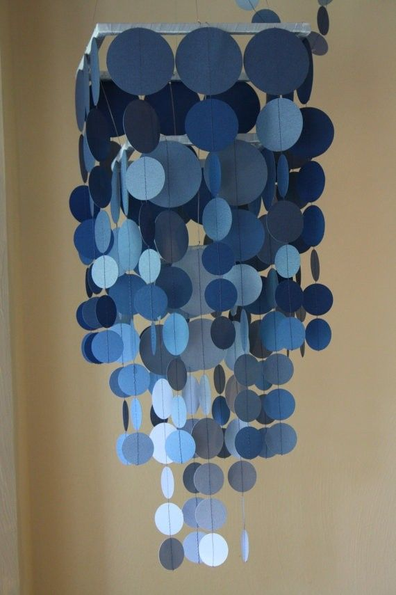 2014 diy Blue ombre wax Paper Chandelier for holiday - mobile, hanger decoration