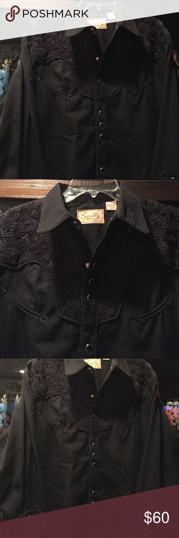 SCULLY men's shirt❤️ SCULLY medium black western shirt originally  $130 beautiful perfect condition details on front back & sleaves get his sexy back!💋bought at San Antonio store  in Texas. Black stone snap buttons scully Shirts Dress Shirts
