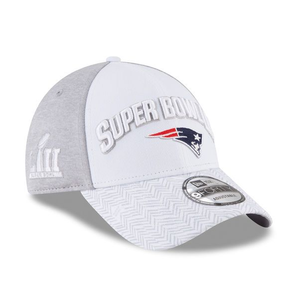 f701f7953 New England Patriots New Era Super Bowl LII Bound 9FORTY Adjustable Hat –  White Gray
