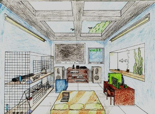 one point perspective drawing | One Point Perspective: Dream Room in INTRO TO ART Forum