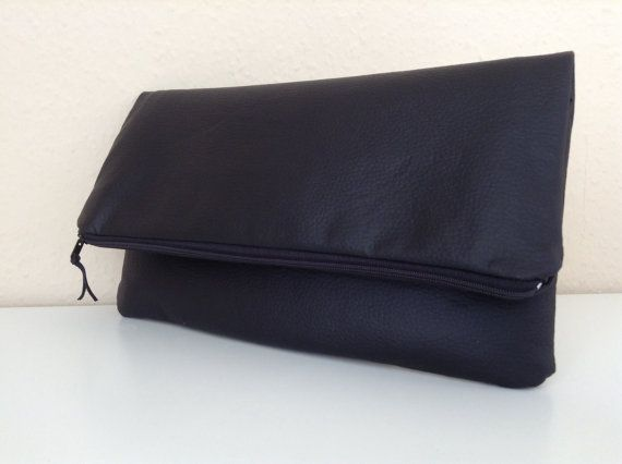 Fold over faux leather clutc by orshie on Etsy, €30.00