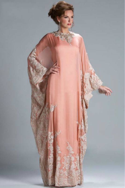 Directsale Hot Sale Good Quality Chiffon Beaded Lace Appliqued Long Sleeve Evening Dubai Kaftan Dress Free Measurement