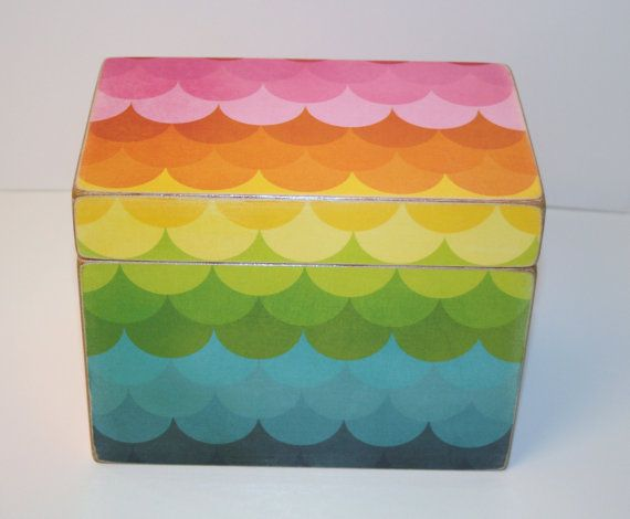 Rainbow Recipe Box Multicolor Recipe Box 4x6 by TheAdornedAbode