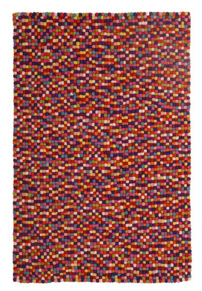 Felted Wool Unique Textured Ball Design Multi Rug 1