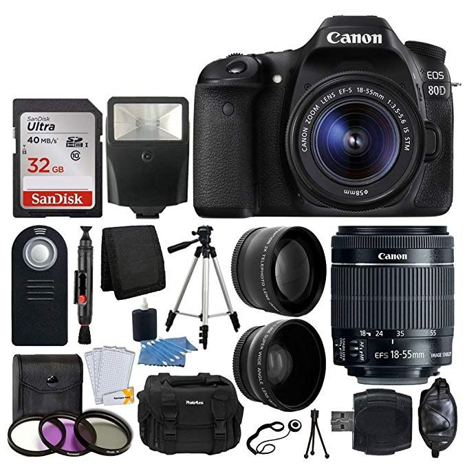 Canon Eos 80d Dslr Camera Body Canon Ef S 18 55mm F 3 5 5 6 Is Stm 58mm 2x Lens Wide Angle Lens 32gb Memory Card U Dslr Camera Canon Dslr Camera Dslr