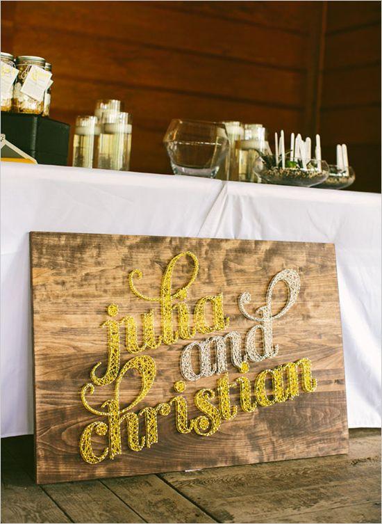 string art wedding sign