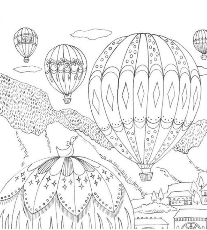 62 best Hot Air Balloon Coloring Pages for Adult images on Pinterest - copy pinterest fish coloring pages