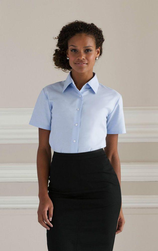RUSSELL Camicia Donna Azienda Ufficio Cotone Oxford Stiro facile Manica corta