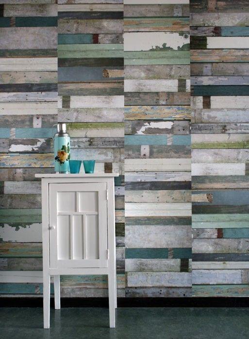 Blue 'Scrapwood' wallpaper by Studio Ditte