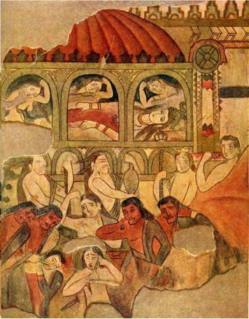 The Death of Syavush, Piandjikent - Soghdian Murals
